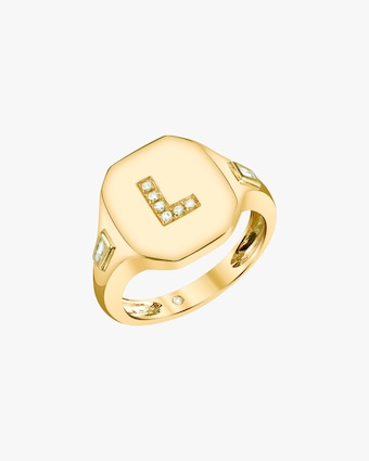 Shay Jewelry Initial Pinky Ring 2