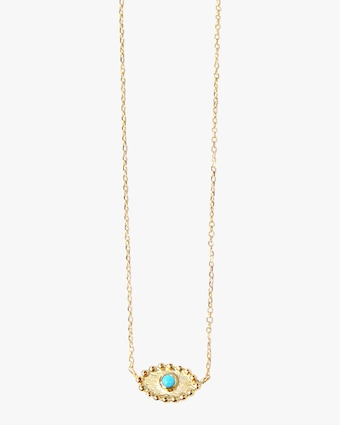 Turquoise Dew Drop Evil Eye Necklace