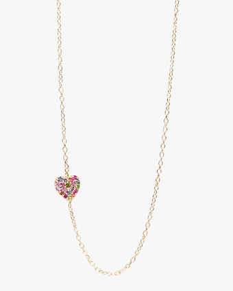 Love Letters Rainbow Pavé Heart Necklace