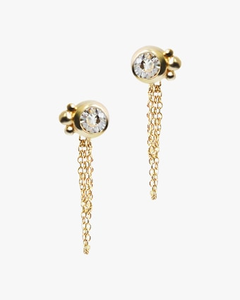 White Topaz Bonheur Birthstone Earrings
