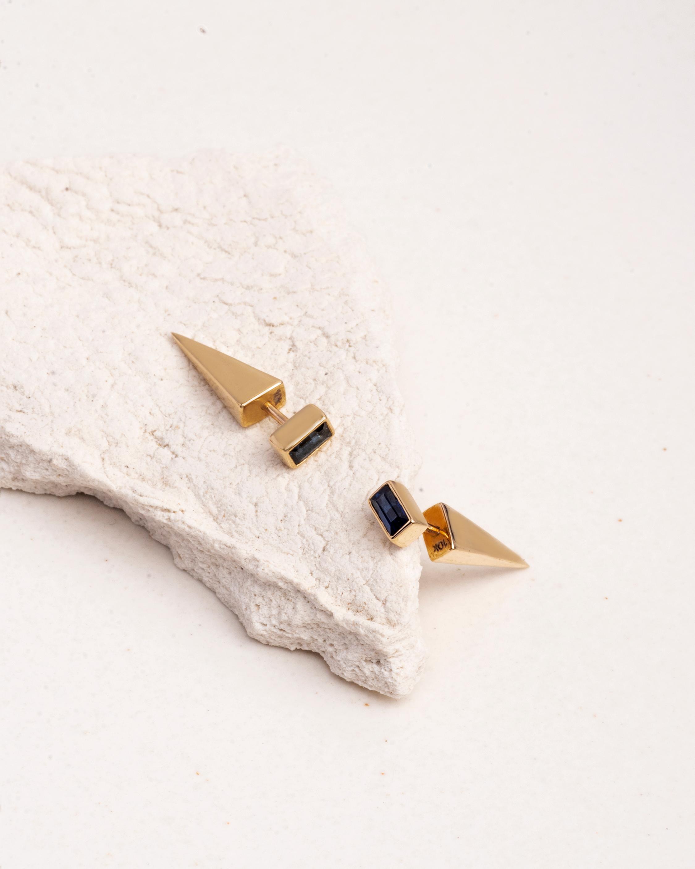 Lunaya Petite Topaz Cone Stud Earrings 3