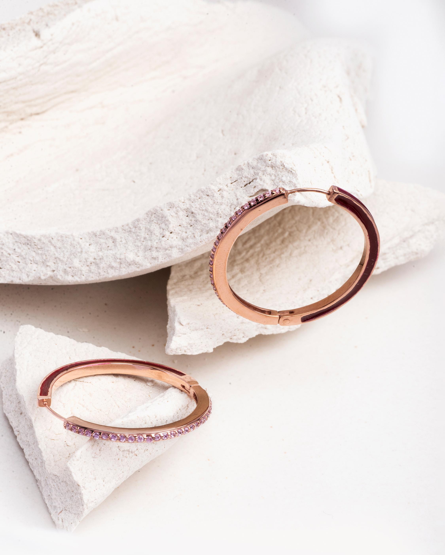 Glazed Gem Hoop Earrings