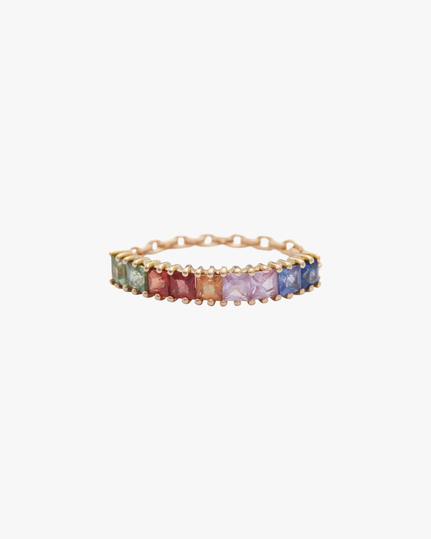 Sapphire Rainbow Bar Chain Ring