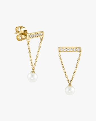 Pearl & Diamond Bar Stud Earrings