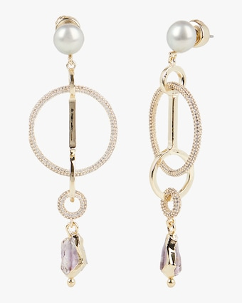 Rose Pavé Ring Drop Earrings