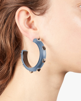 Hexagon Studded Hoop Earrings