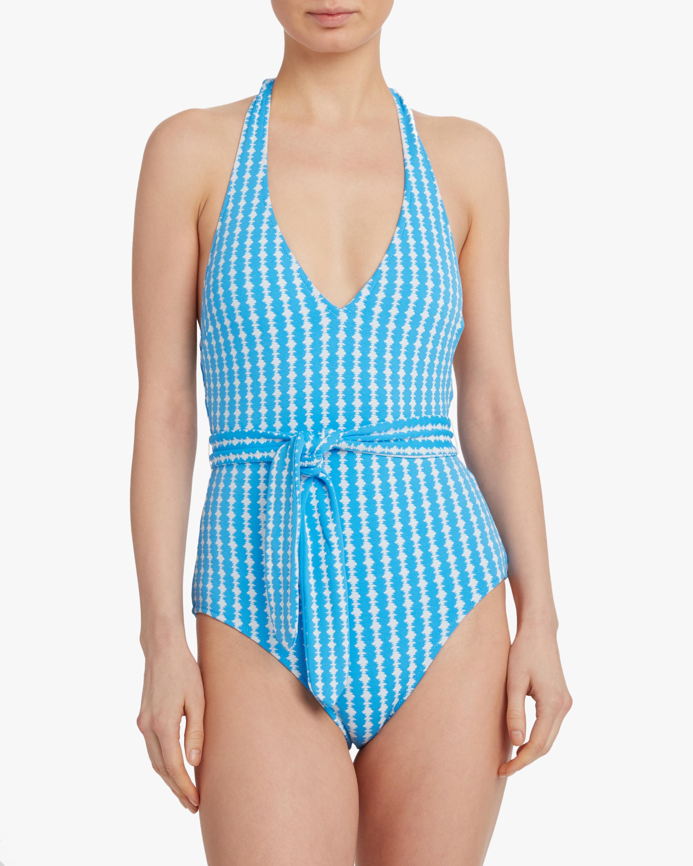 Zala Deep-V Belted One Piece Swimsuit