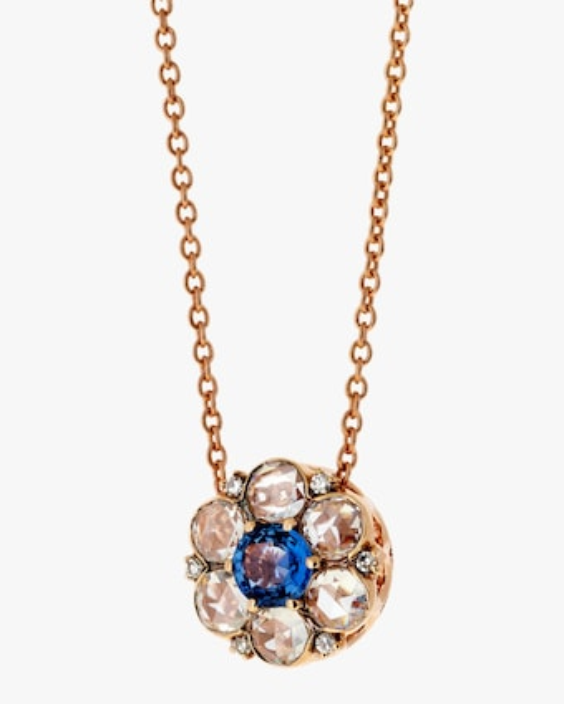 Diamond & Blue Sapphire Pendant Necklace