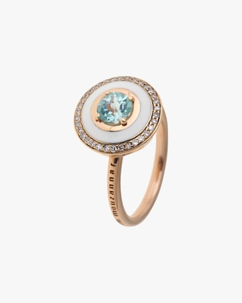 Enamel, Paraiba Tourmaline & Diamond Ring