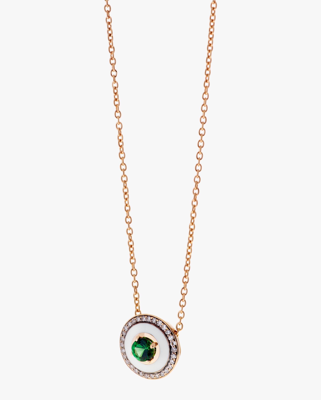 Large Diamond, Enamel & Tsavorite Pendant Necklace