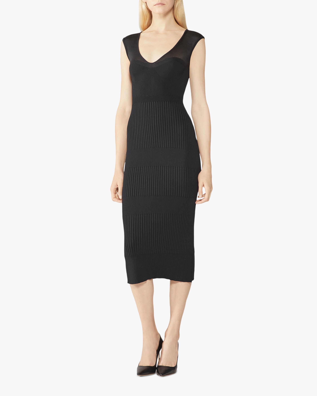 Herve Leger Silk Sheer Rib V-neck Dress 1