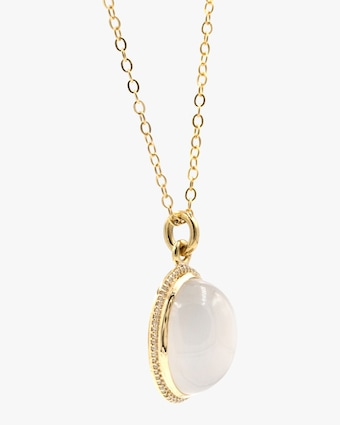 Moonstone & Diamond Pendant Necklace