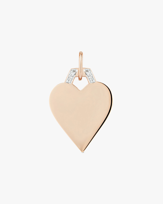 Walters Faith Half-hex Mini Heart Charm   Diamonds/rose Gold