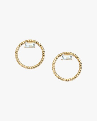 Jac + Jo White Topaz Open-Circle Stud Earrings 1