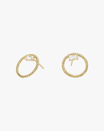 Jac + Jo White Topaz Open-Circle Stud Earrings 2