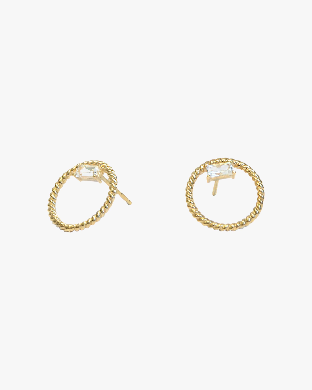 Jac + Jo White Topaz Open-Circle Stud Earrings 1