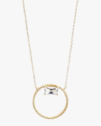 Jac + Jo White Topaz Open-Circle Pendant Necklace 1