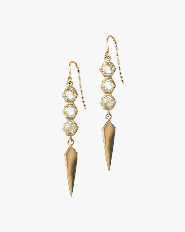 White Topaz Spear Drop Earrings