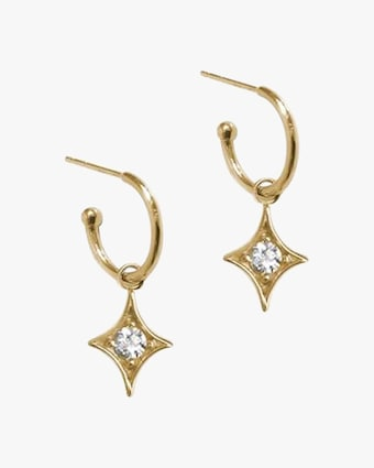 Jac + Jo Gothic Diamond Starburst Hoop Earrings 2