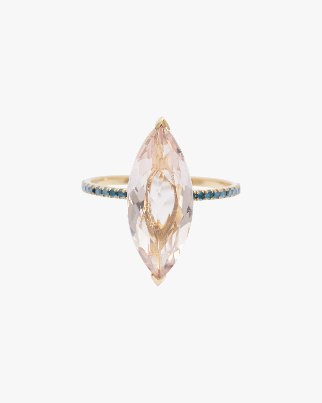 Morganite & Blue Diamond Supreme Charm Ring