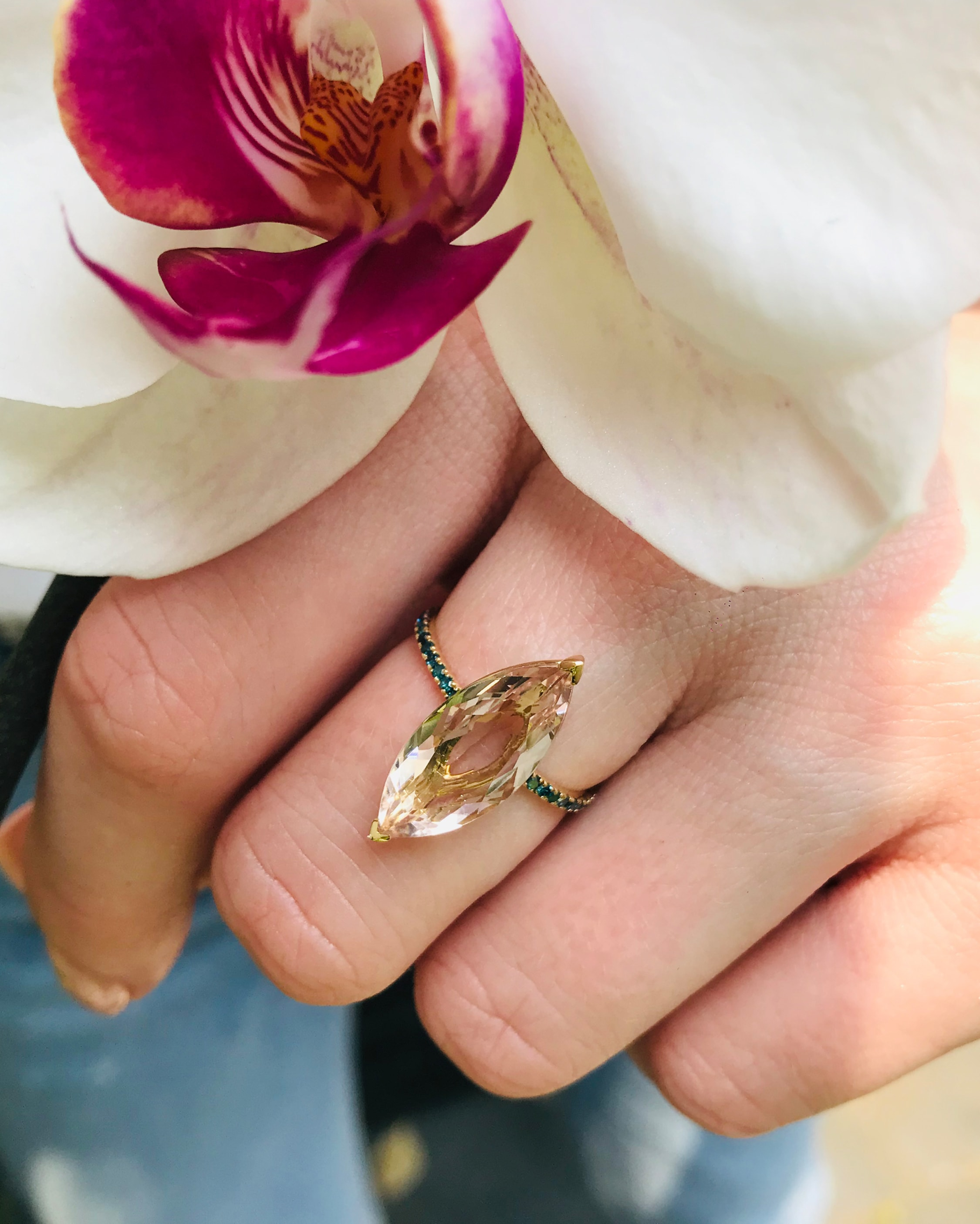 Yi Collection Morganite & Blue Diamond Supreme Charm Ring 2