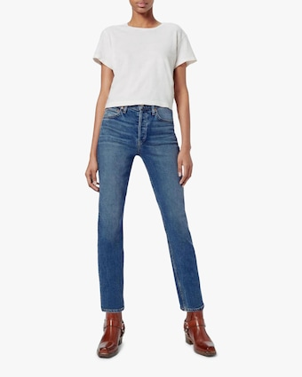 High-Rise Ankle Straight Jeans