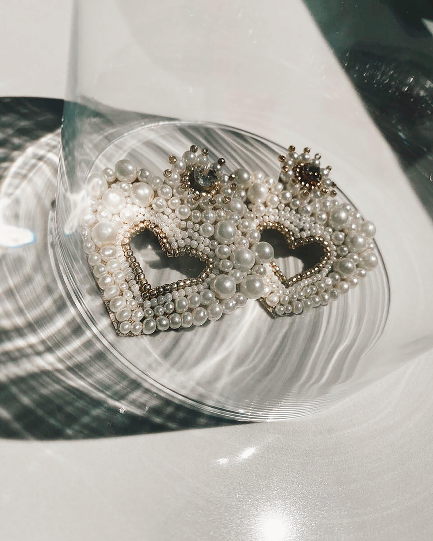 Hearty Faux Pearl Earrings