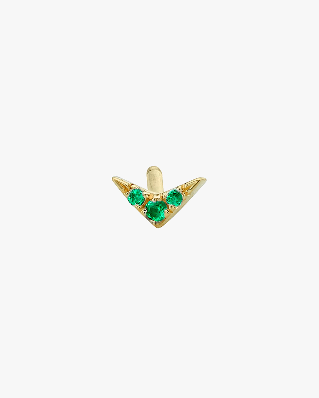 Lizzie Mandler Emerald Single Pavé V Stud Earring 1