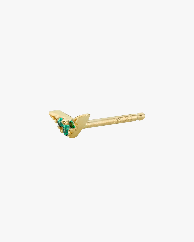 Lizzie Mandler Emerald Single Pavé V Stud Earring 2