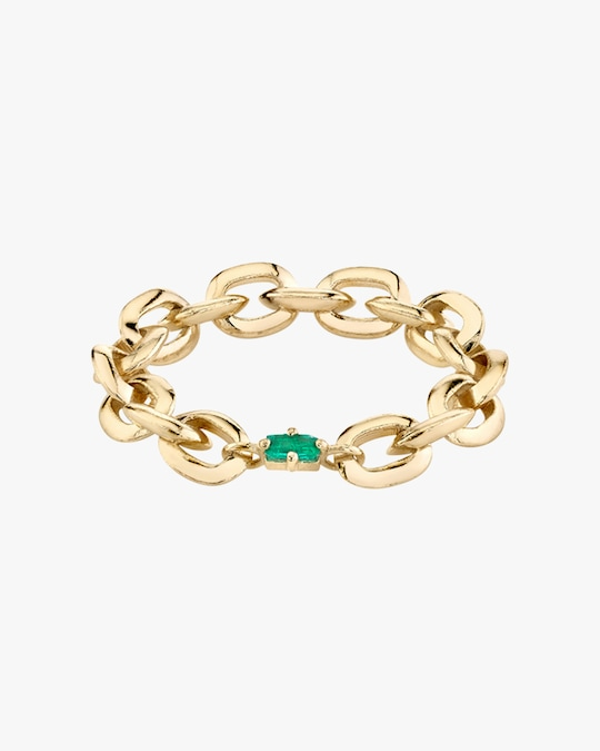 Lizzie Mandler Emerald Knife Edge Chain-Link Ring 0