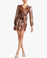 Cynthia Rowley Rocky Silk Lame Wrap Dress 0