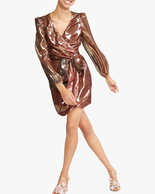 Cynthia Rowley Rocky Silk Lame Wrap Dress 1