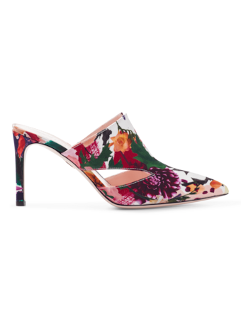 Marcel Floral Print Mule with Triangle Cut Outs