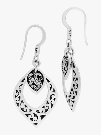 Lois Hill Hand Carved Scroll Drop Earrings 2