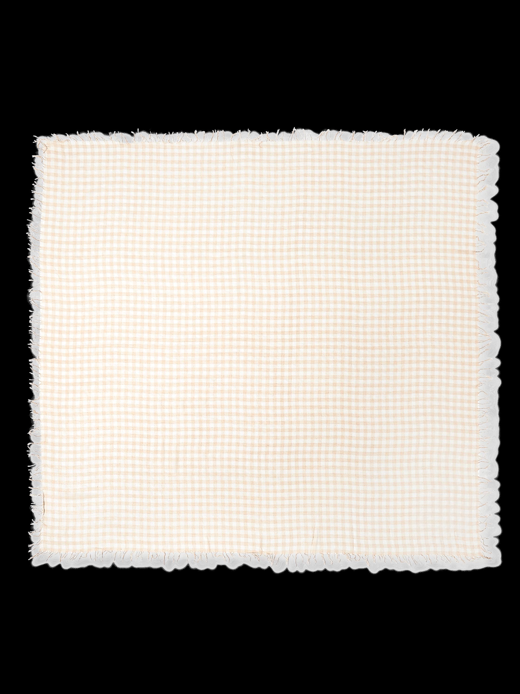 Gingham Print Cashmere Silk Fringe Scarf