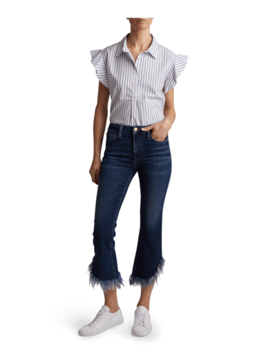 Le Crop Shredded Raw Jeans