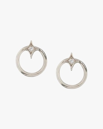 Gothic Diamond Open-Circle Stud Earrings