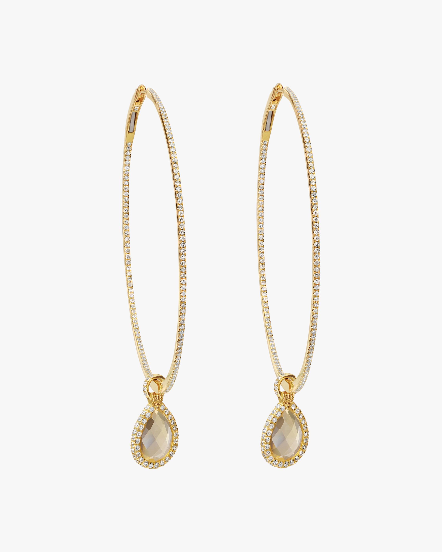 Nina Runsdorf Large Citrine Flip Hoop Earrings 1