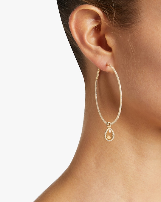Nina Runsdorf Large Citrine Flip Hoop Earrings 1