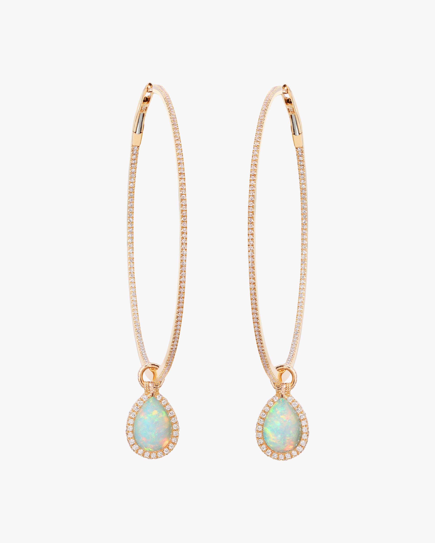 Nina Runsdorf Large Opal Flip Hoop Earrings 0