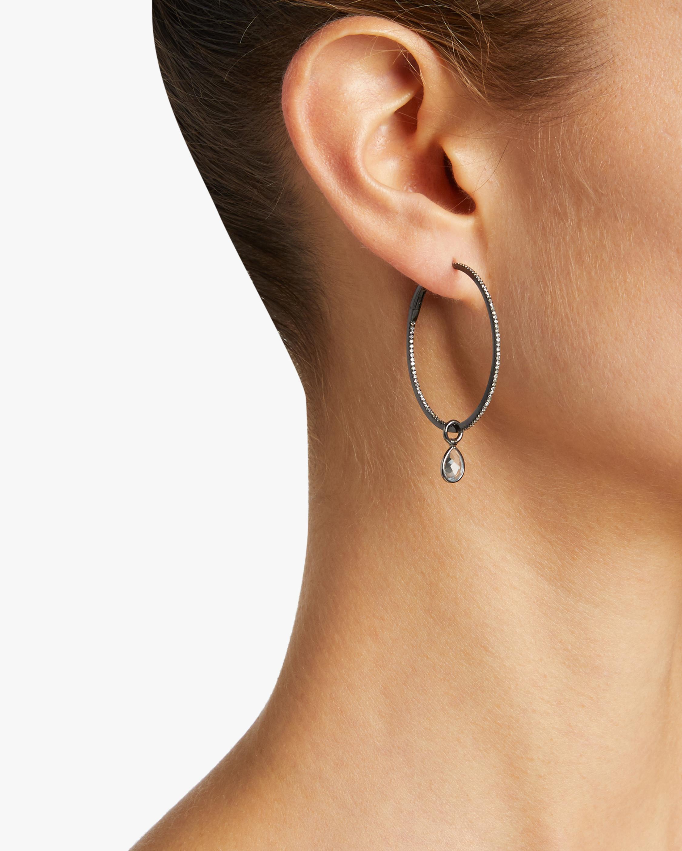 Nina Runsdorf Medium Topaz Hoop Earrings 2