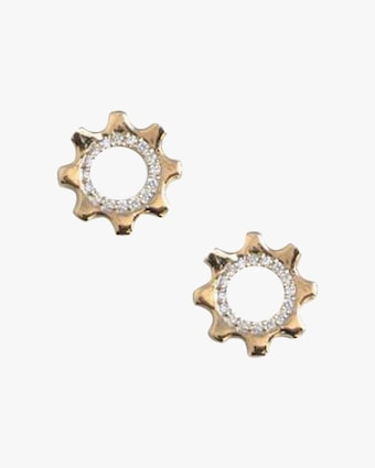 Cog Mini Pavé Stud Earrings
