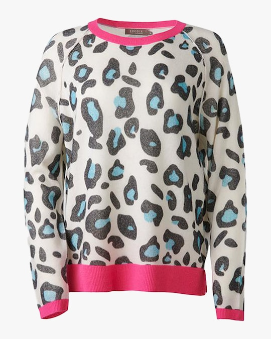 Brodie Cashmere Cheetah Sweater 0