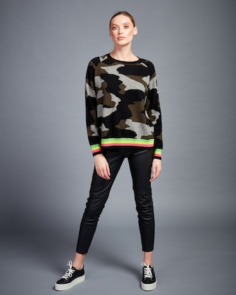 Kelly Camo Stripe Sweater