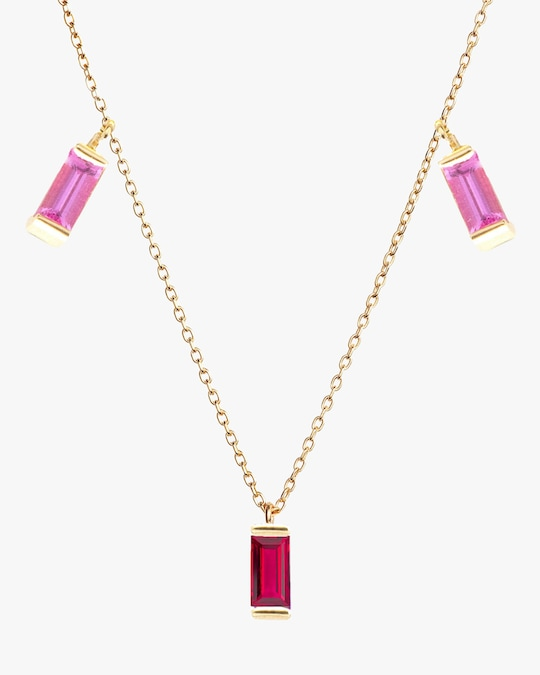 Poppy Finch Ruby & Pink Sapphire Station Necklace 1