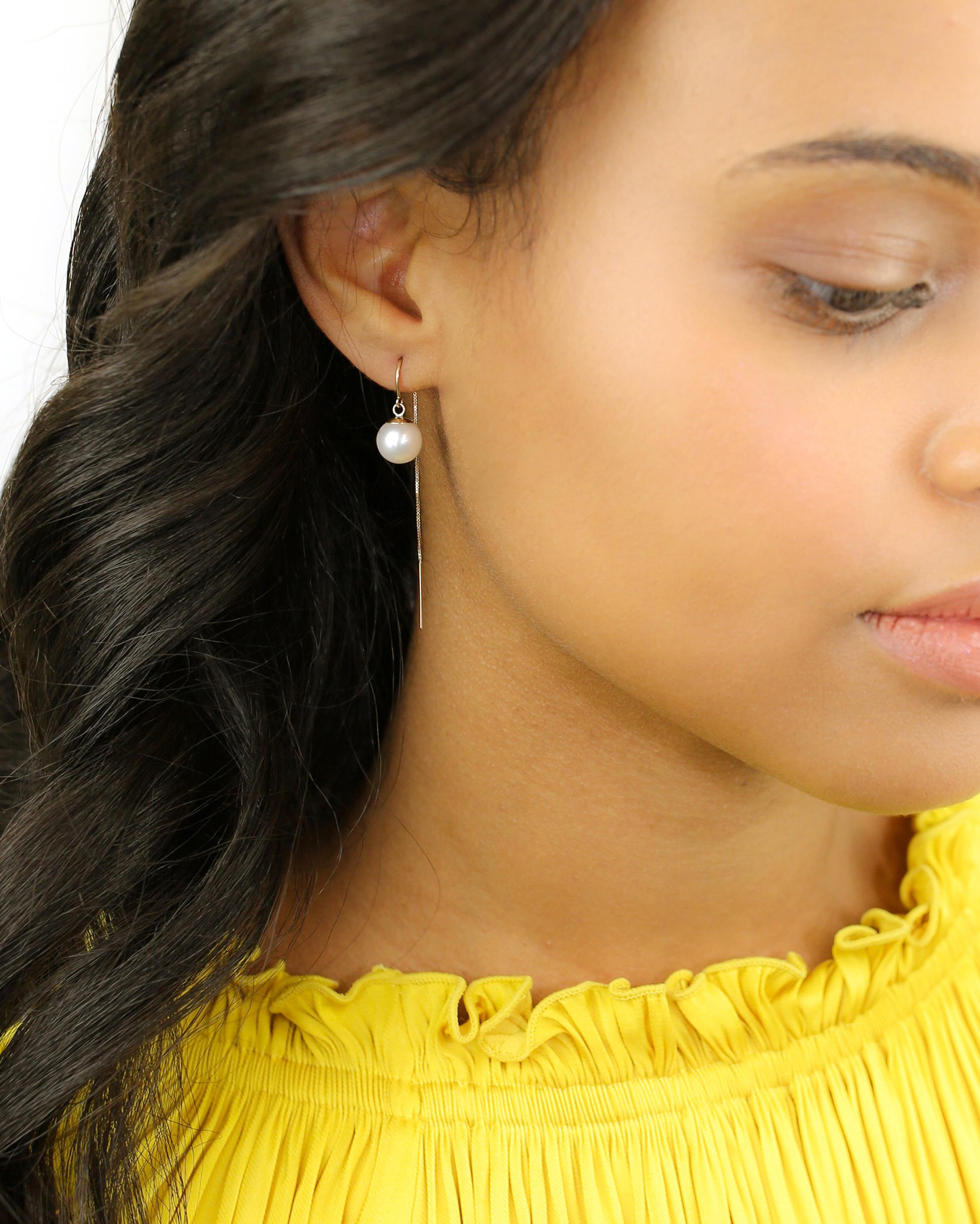 Poppy Finch Pearl Threader Earrings 1