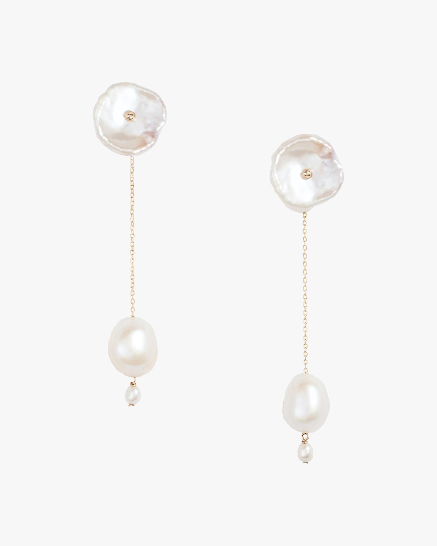 Petal Pearl Long Drop Earrings