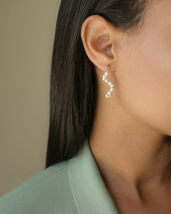 Baby Pearl Short Wave Drop Earrings