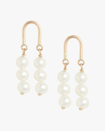 Gold Arch Three-Pearl Earrings