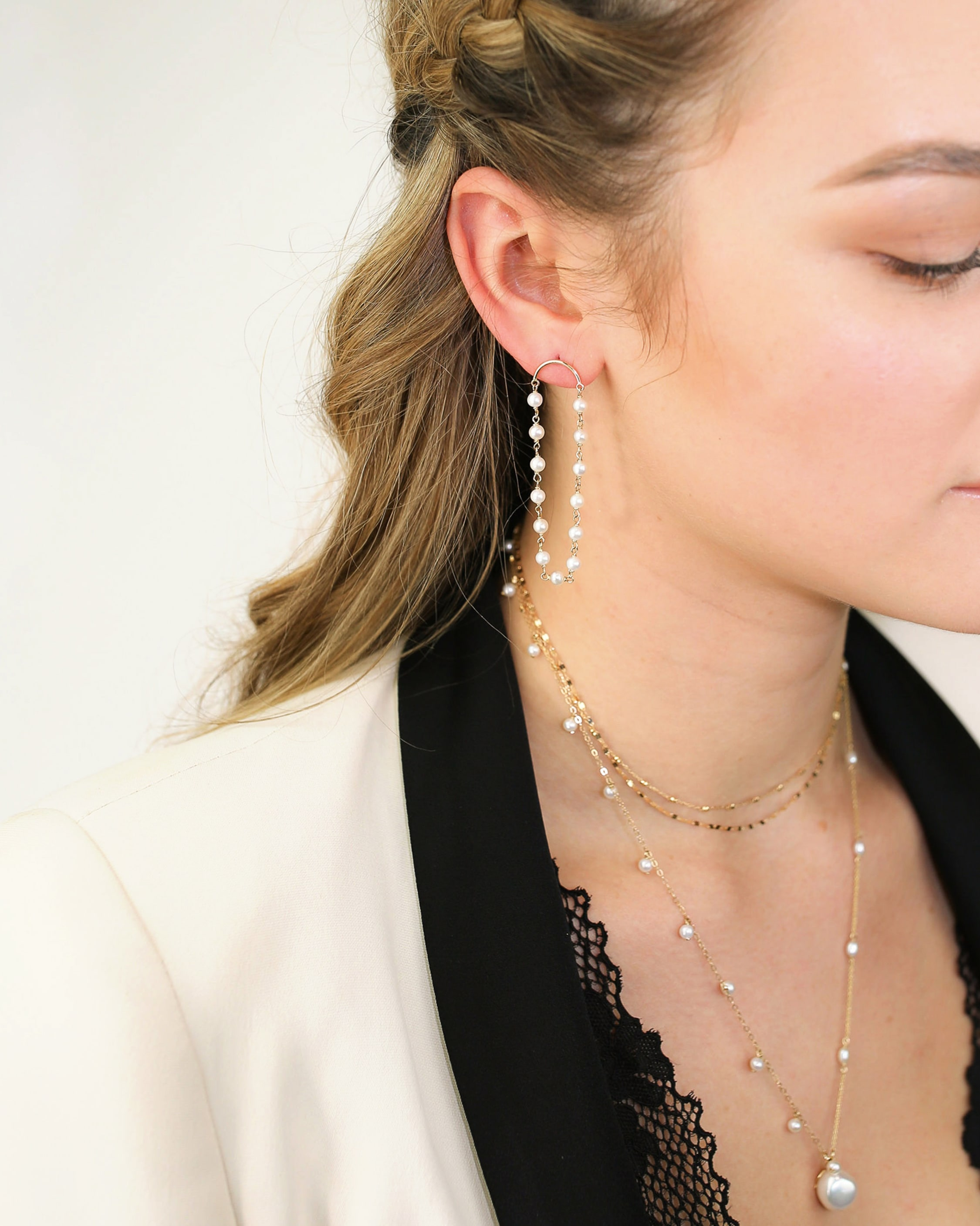 Poppy Finch Crescent Long Pearl Drop Earrings 2